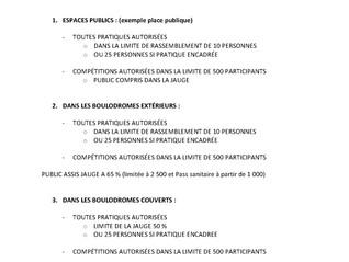 Information FFSB reprise des Compétitions à partir du 09 Juin 2021