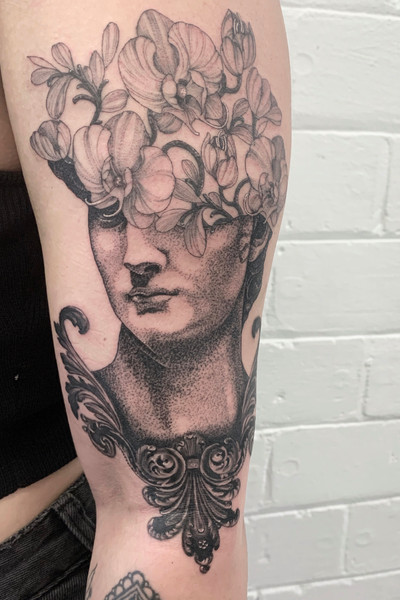 Michelangelo David Statue with Orchids & Filigree ✨