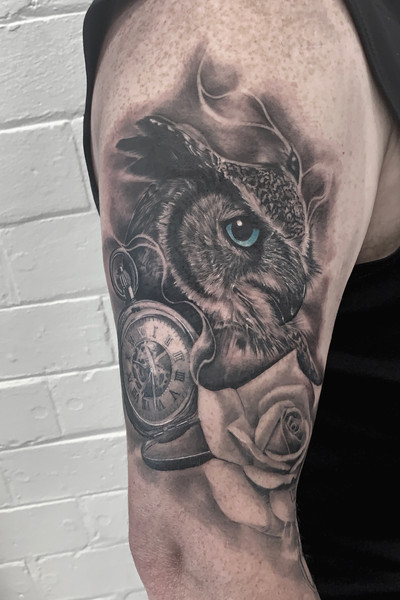 Owl with Rose & Pocket Watch 🌹