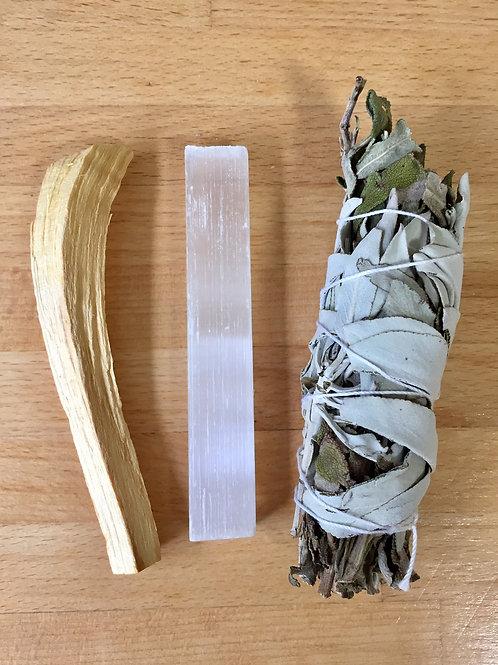 Cleansing Kit - Medium White Sage, Palo Santo & Selenite