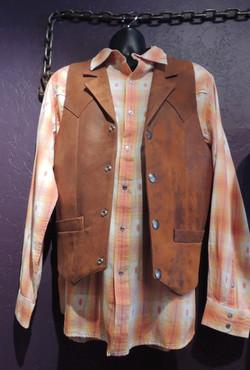 Notched Leather Vest, Cognac