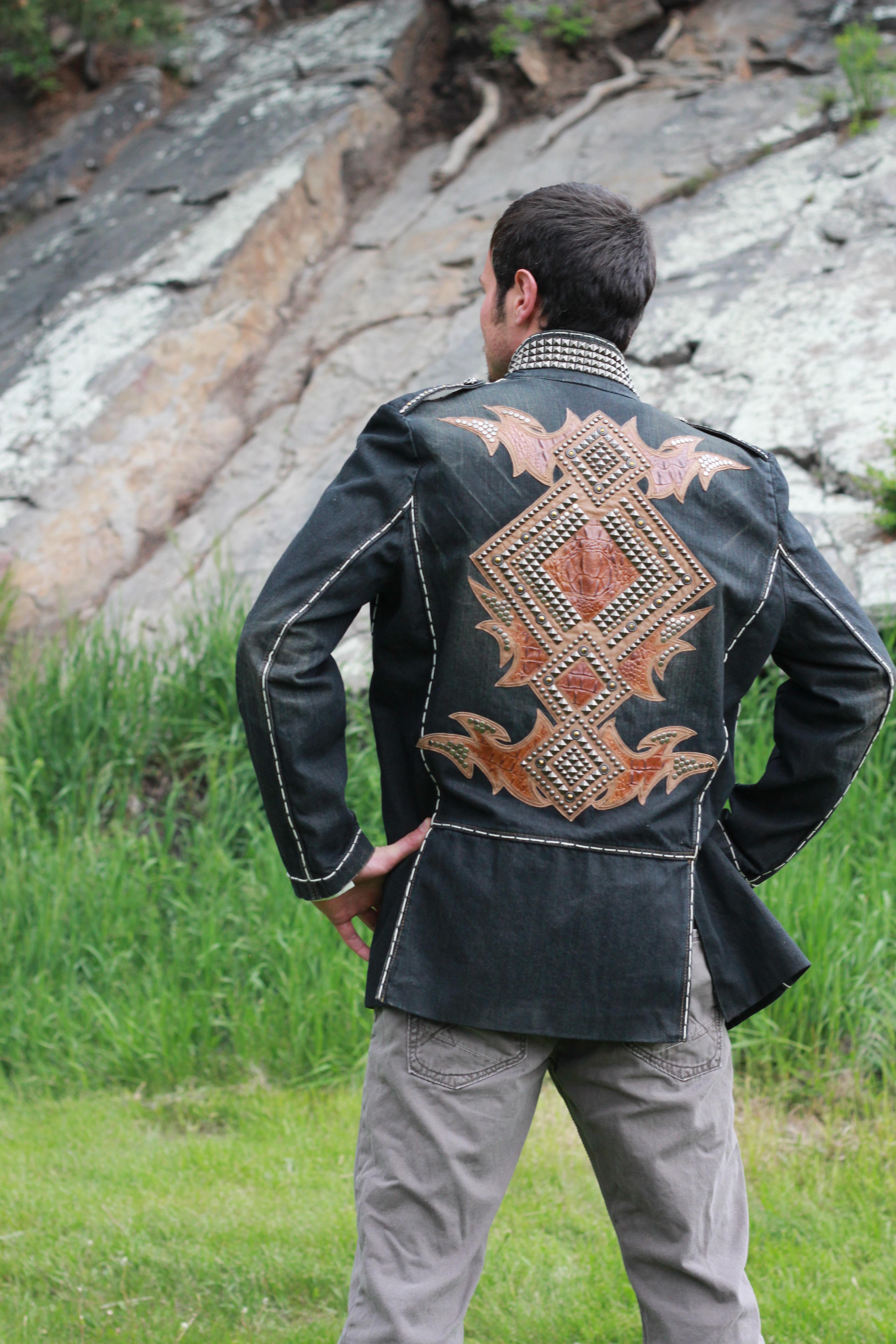 Denim w/leather & Stud Detail