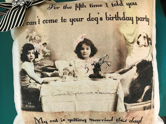 Dog Birthday Party Pillow