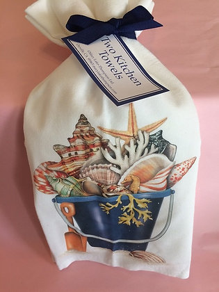 Shell Bucket- Set of 2 Tea Towels
