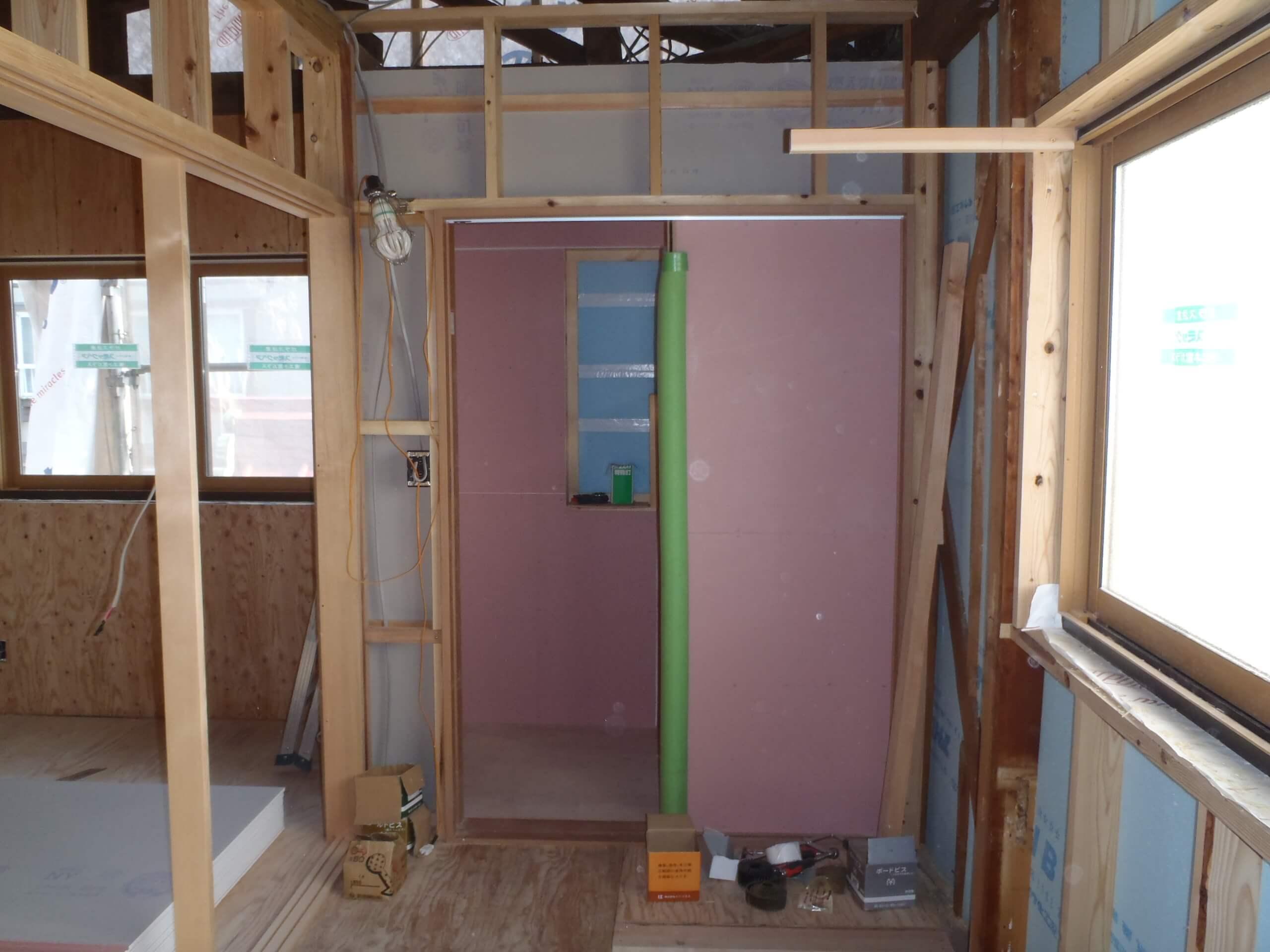 2階トイレ間仕切り下地