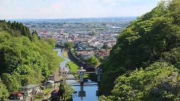 奥州市江刺区夢の橋からの眺め