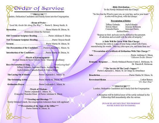 Ordiantion  Programs - Inside Program  J