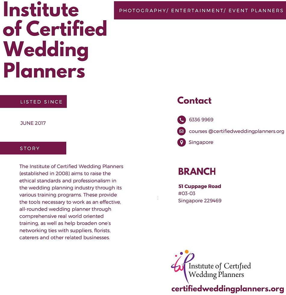 Institute of Certified wedding planners.