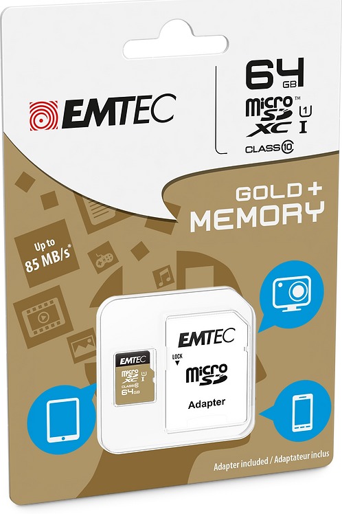 EMTEC 64GB Class 10 MicroSDHC Memory Card with Adapter