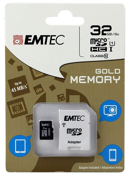 EMTEC 32GB Class 10 MicroSDHC Memory Card with Adapter