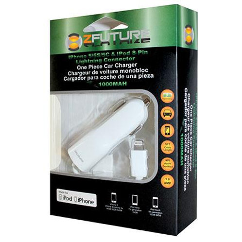 ZFUTURE 1AMP Car Charger for all iPhones, iPads & iPods - 8-Pin Lightning Cable