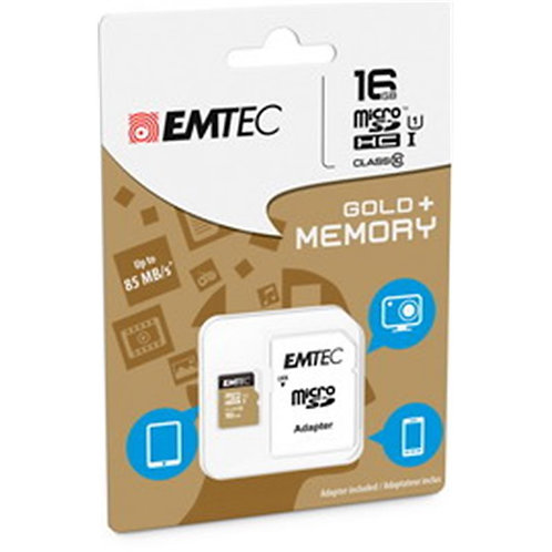 EMTEC 16GB Class 10 MicroSDHC Memory Card with Adapter
