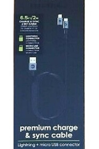 mophie - 6.6' Lightning/Micro To USB Cable