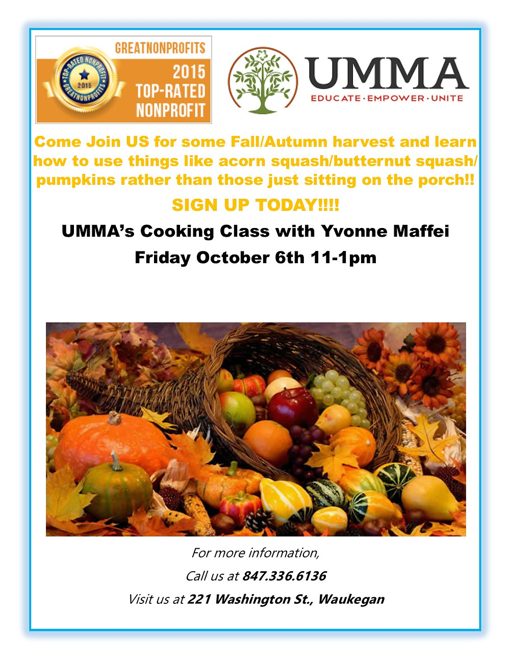 Come Join UMMA for some Fall weather cooking!!!