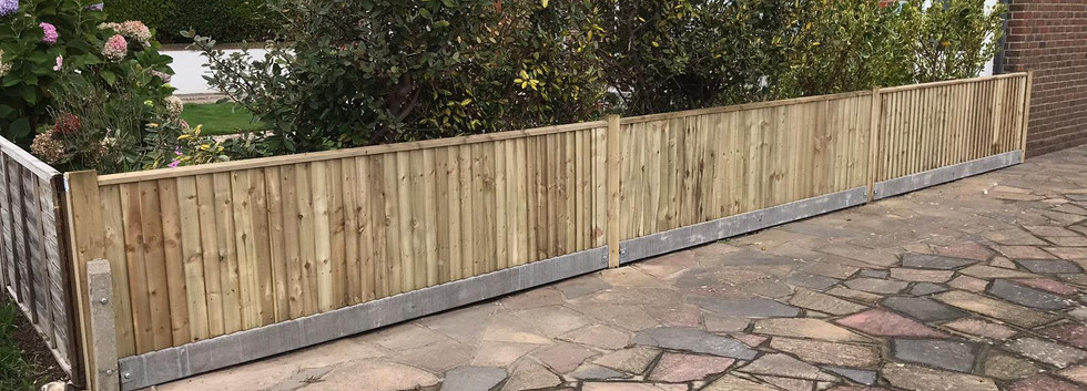 Closeboard Fencing with Timber Posts and Concrete Gravelboards