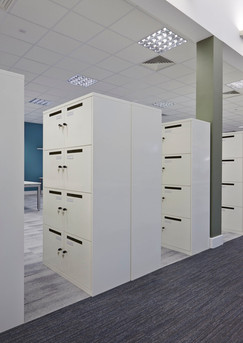 Metal Office lockers with post slot