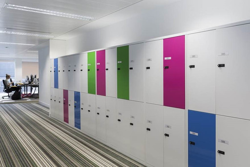 Metal Office locker with accent coloured doors