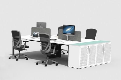 Metal office custom desk end storage