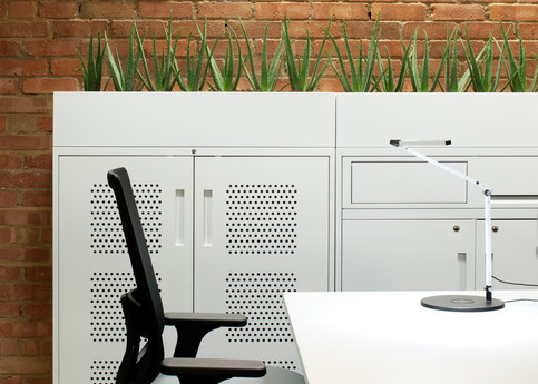 Metal office cupboards with planter