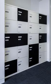 Metal Office lockers with combi locks & vinyl numbers