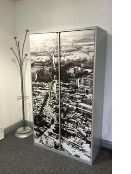 Metal office cupboard with graphics