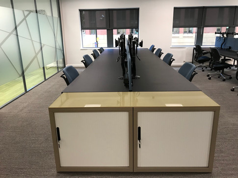 Metal office tambours with glass tops