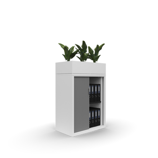 Metal office 800w Goodwood tambour with planter