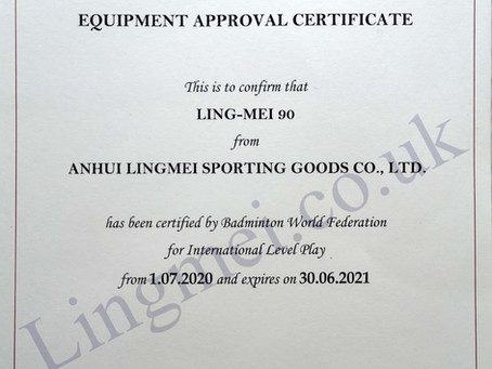 BWF EQUIPMENT APPROVAL CERTIFICATE