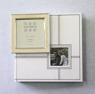 White Photo Album (Medium) with Mini Cream Frame (Wedding)
