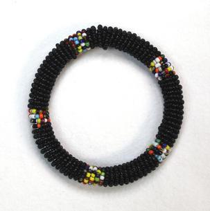 Masai Bead Bangle - Black - Made in Kenya