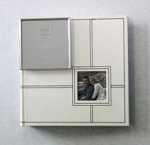 White Photo Album (Medium) with Mini Silver Frame (Wedding)