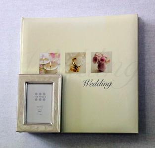 Cream Photo Album (Medium) with Mini Cream Frame (Wedding)