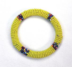 Masai Bead Bangle - Yellow - Made in Kenya