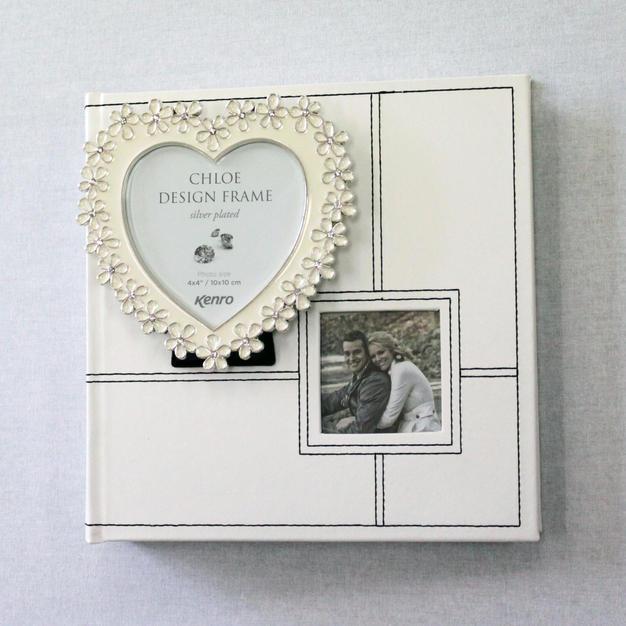 White Photo Album (Medium) with Mini White Heart Frame (Wedding)