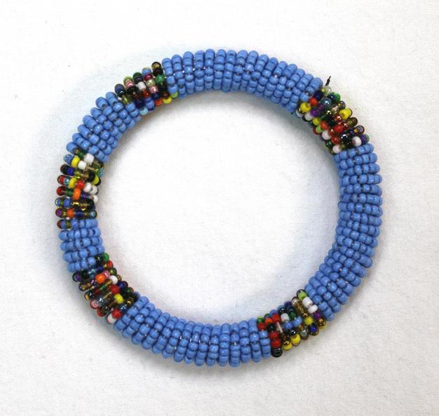 Masai Bead Bangle - LBlue - Made in Kenya