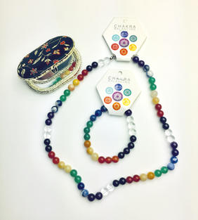 Semi-precious Stone Set (Round) (Necklace and Bracelet) with Oriental-design Mirror