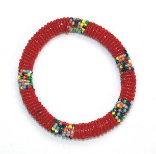 Masai Bead Bangle - Red - Made in Kenya