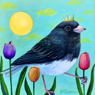 Dark-eyed Junco Tulips