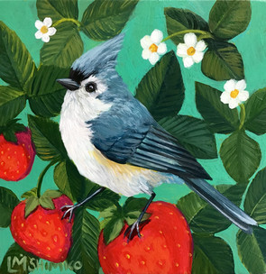 Tufted Titmouse Strawberry
