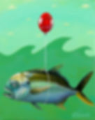 Jack Crevalle Red Balloon by Lisa Shimko