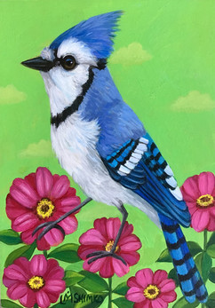 Blue Jay Pink Flowers