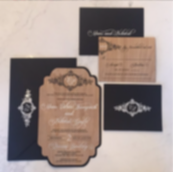 Wood Veneer Foiled Invitaion