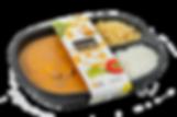 bandeja de strogonoff de carne, arroz e