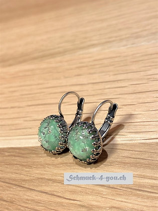 Ohrhänger rund grün gemusterst