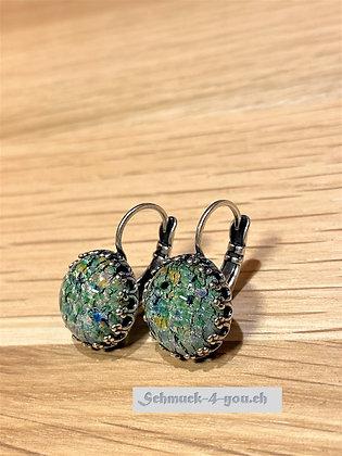 Ohrhänger rund Opal grün