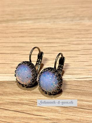 Ohrhänger rund Opal rosa/blau mit Fassung