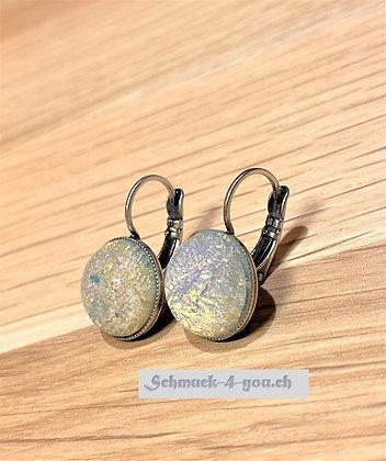Ohrhänger rund Opalweiss