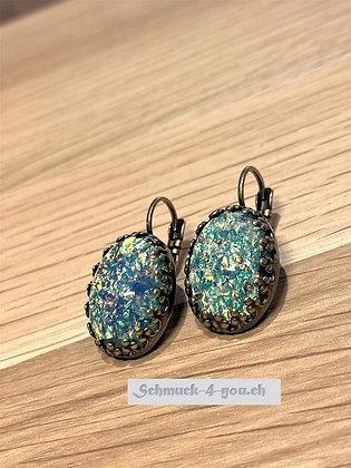 Ohrhänger Opal türkis/blau