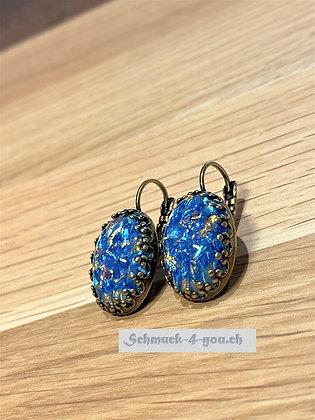 Ohrhänger Opal blau