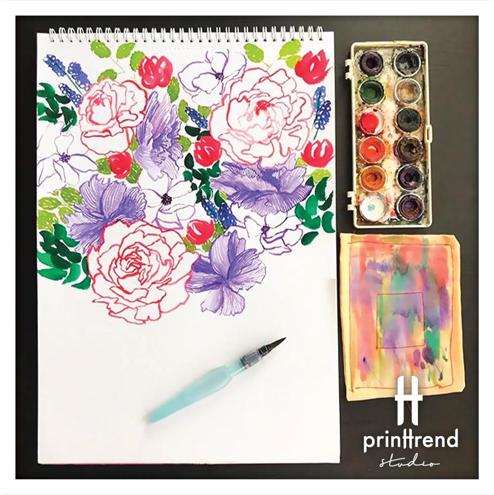 sketchbook, drawing, painting, flowers